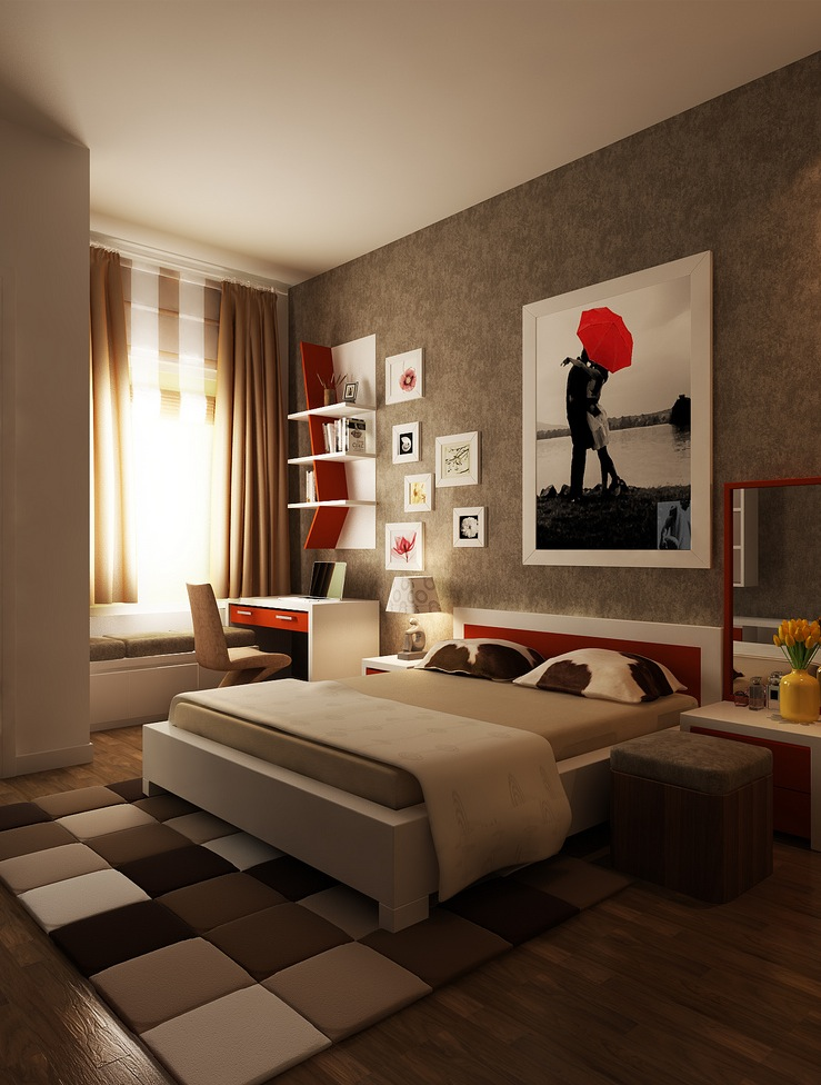 Red-brown-white-bedroom-layout