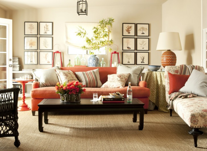 amusing-living-room-with-classic-sofa-styles-with-orange-color-with-wooden-table-and-potted-greenery